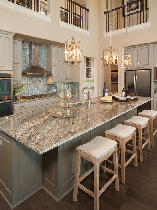 Gorgeous two story kitchen, granite countertops, pendant lighting