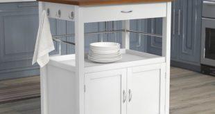 Andover Mills Kibler Kitchen Island Cart with Natural Butcher Block