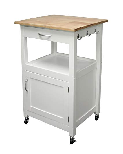 Amazon.com - eHemco Kitchen Island Cart Natural Wood Top with White