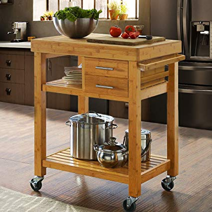 Amazon.com - Clevr Rolling Bamboo Wood Kitchen Island Cart Trolley