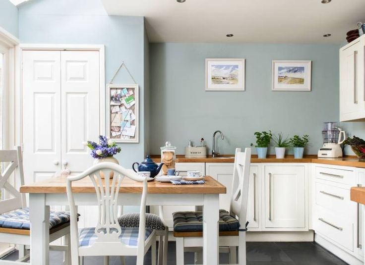 Duck egg blue kitchen with white cabinets | Heart of the home