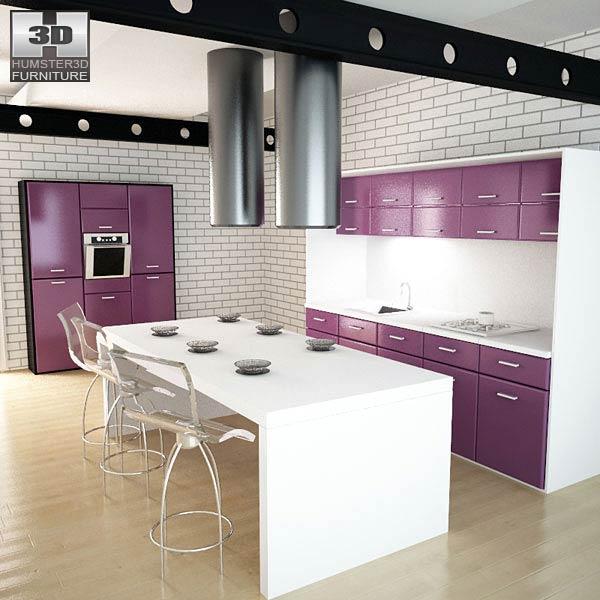 Kitchen Set I3 3D model - Furniture on Hum3D