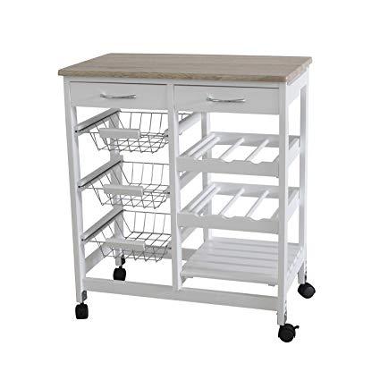 Amazon.com: Home Basics Portable Kitchen Storage Island Trolley Cart