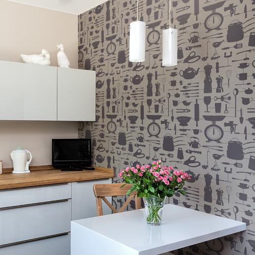 Airfix Kitchen Wallpaper Taupe | Graduate Collection