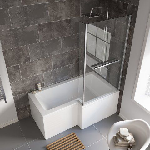 1500x850mm Right Hand L-Shaped Bath, 6mm Screen, Rail, Front & End