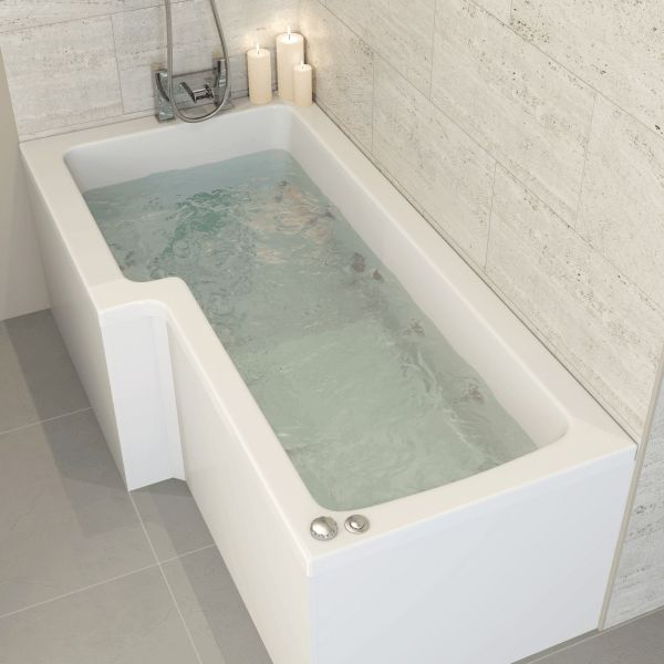 Ceramica Left Handed L Shaped Bath 1700mm with 8 Jet Whirlpool