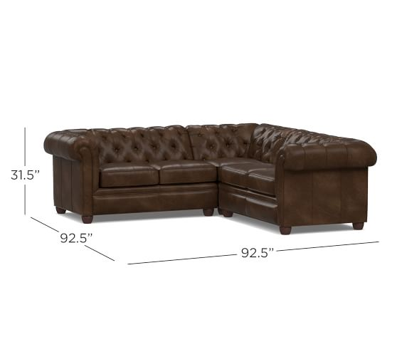 Chesterfield Leather 3-Piece L-Shaped Sectional | Pottery Barn