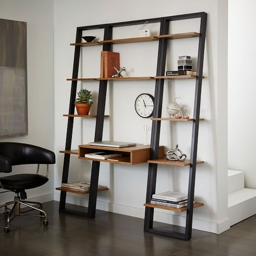 Ladder Shelf Desk + Narrow Bookshelf Set (White/Espresso) | west elm