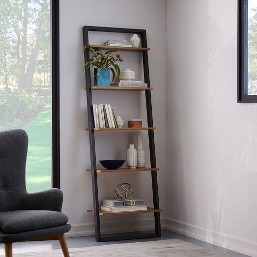 Ladder Bookshelf - Wide (White/Espresso) | west elm