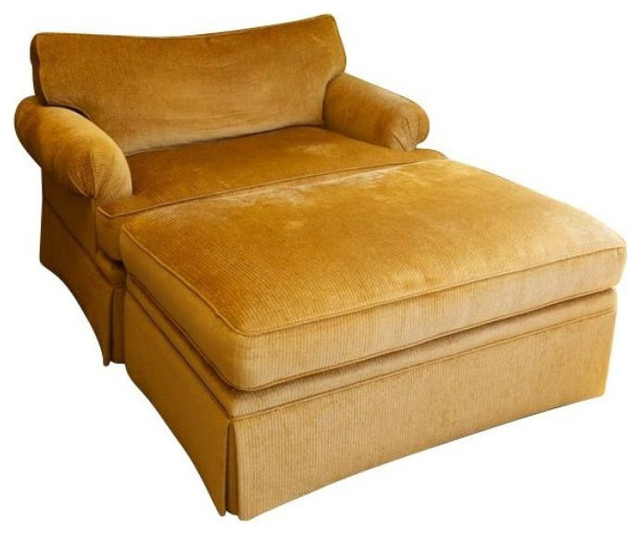 Large Chenille Club Chair and Ottoman - $4,149 Est. Retail - $1,245
