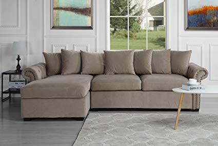 Amazon.com: Modern Large Tufted Velvet Sectional Sofa, Scroll Arm L
