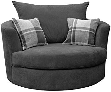 Sofas and More Large Swivel Round Cuddle Chair Fabric (Grey): Amazon