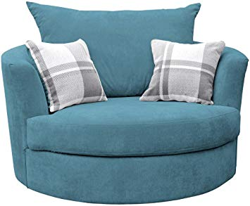 Sofas and More Large Swivel Round Cuddle Chair Fabric (Ocean