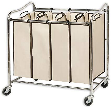 Amazon.com: Simplehouseware 4-Bag Heavy Duty Rolling Laundry Sorter