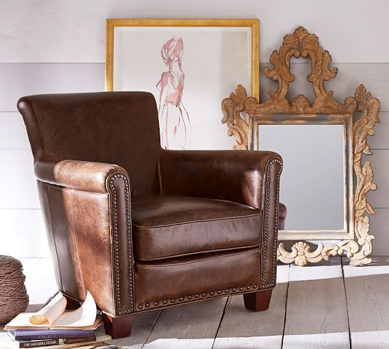 Irving Roll Arm Leather Armchair with Nailheads   Pottery Barn
