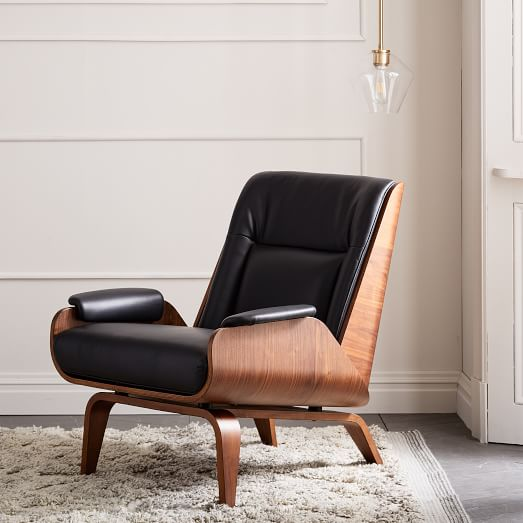 Paulo Bent Ply Leather Chair   west elm