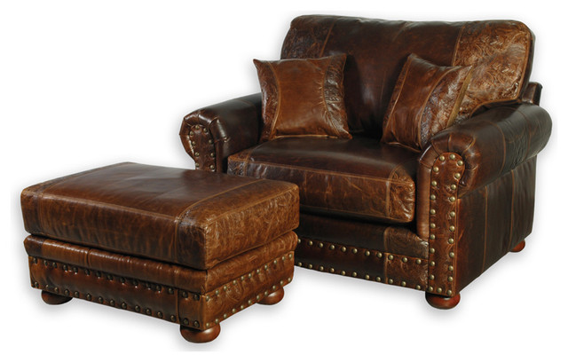 Western Style Leather Oversized Chair - Southwestern - Armchairs And