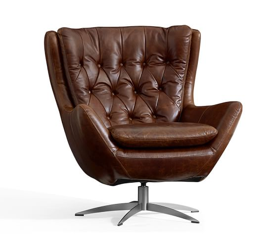 Wells Leather Swivel Armchair | Pottery Barn