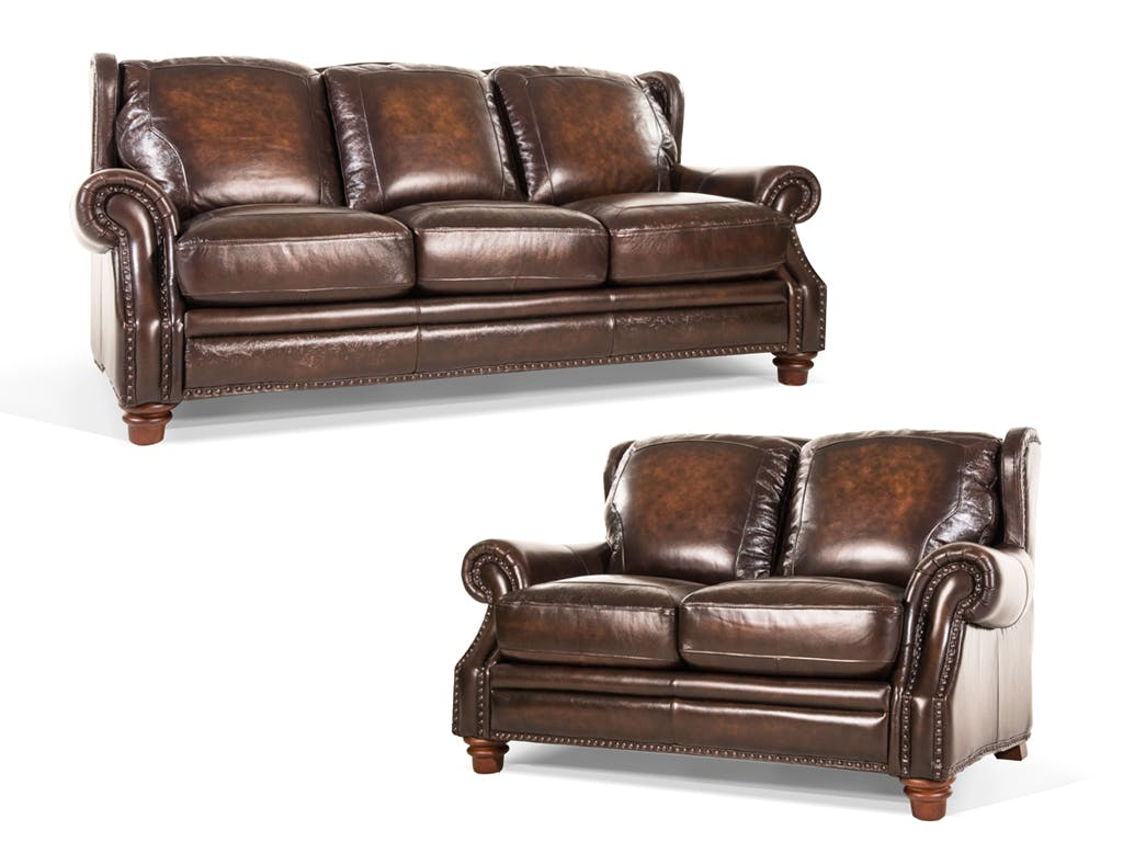 Futura Frankford Leather Sofa and Loveseat