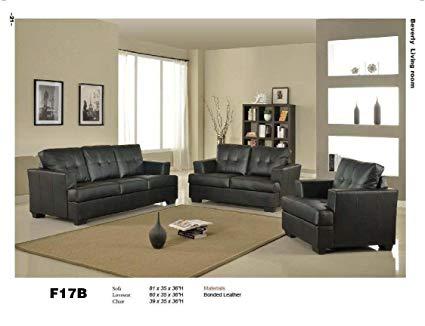 Amazon.com: 3 PCs Black Classic Leather Sofa, Loveseat, and Chair