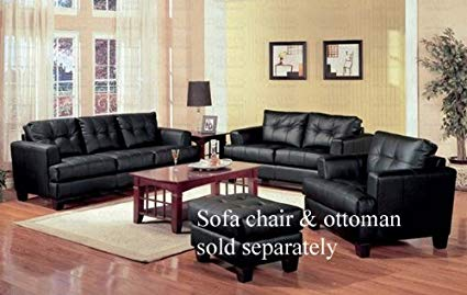 Amazon.com: 2 PCs Black Classic Leather Sofa and Loveseat Set