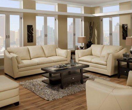 I like the style of this leather sofa/loveseat set.