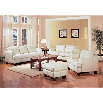 Amazon.com: Leather Sofa Set - 4 Piece in Cream Leather - Coaster