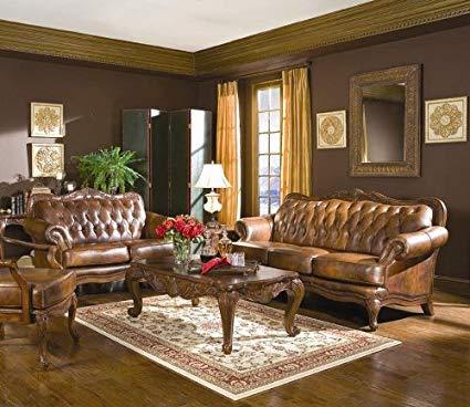 Amazon.com: Classic Tri Tone Leather Sofa and Love Seat Set: Kitchen
