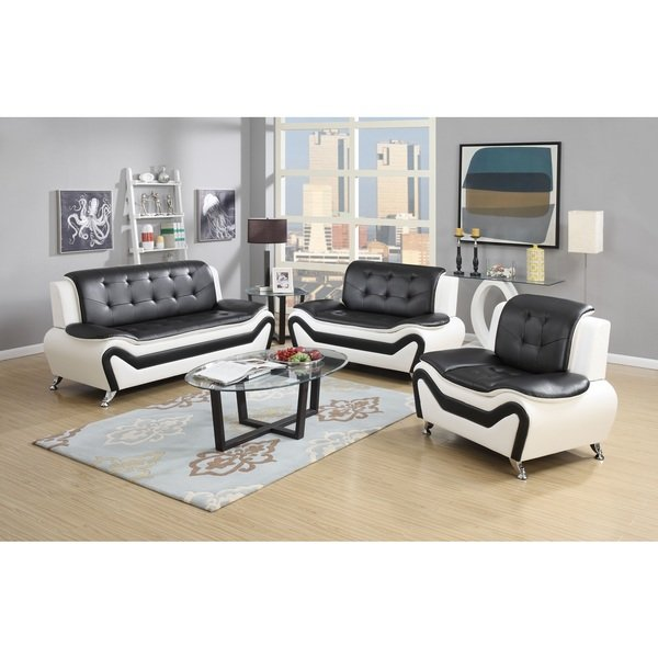 Shop Wanda 3-Piece Modern Bonded Leather Sofa Set - Free Shipping