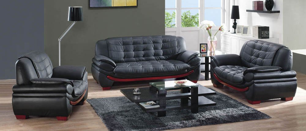Modern Leather Sofa Set Black