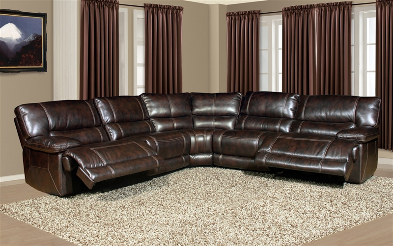 Pegasus 5 Piece Power Reclining Sectional in Nutmeg Synthetic