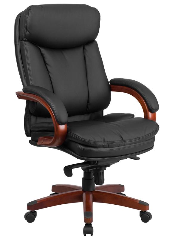 BTOD High Back Leather Office Chair Mahogany Wood Base