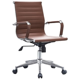 Shop 2xhome Brown Mid Back PU Leather Executive Office Chair Ribbed