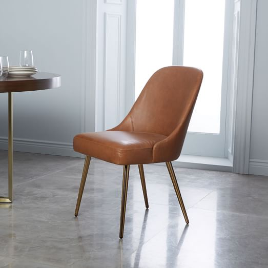 Mid-Century Leather Dining Chair - Saddle/Blackened Brass | west elm