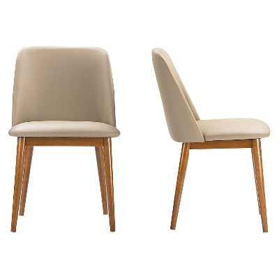 Lavin Mid-Century Faux Leather Dining Chairs - Brown Walnut/Beige