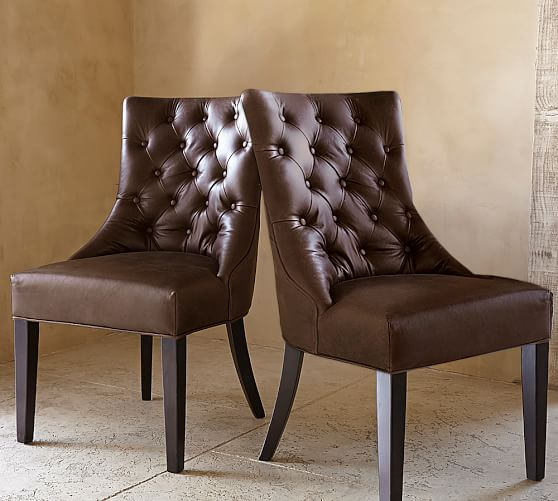 Hayes Tufted Leather Dining Chair | Pottery Barn
