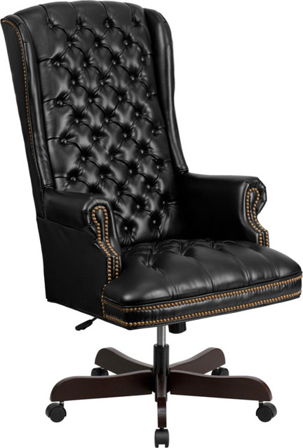 High Back Traditional Tufted Black Leather Executive Office Chair CI