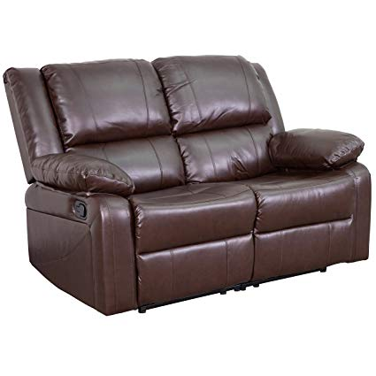 Amazon.com: Flash Furniture Harmony Series Brown Leather Loveseat