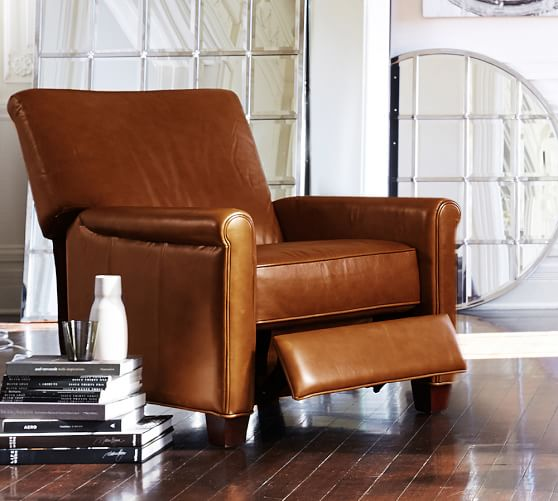 Irving Leather Recliner | Pottery Barn