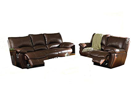 Amazon.com: 2pc Recliner Sofa & Loveseat Set in Brown Leather Match