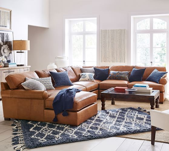 Townsend Roll Arm Leather 4-Piece Chaise Sectional | Pottery Barn