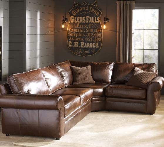 Pearce Roll Arm Leather 3-Piece Sectional with Wedge | Pottery Barn