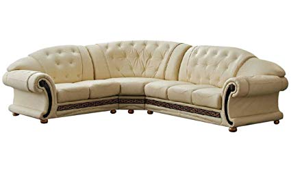 Amazon.com: Versace Beige Leather Sectional Sofa in Traditional