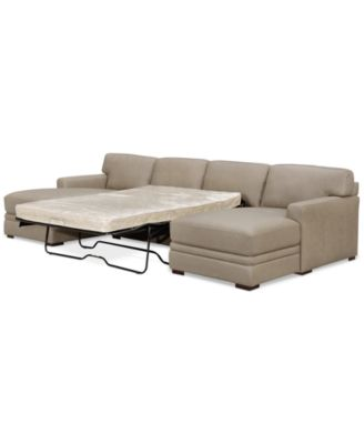 Furniture Avenell 3-Pc. Leather Sectional with Double Chaise & Full