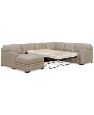 Furniture Avenell 3-Pc. Leather Sectional with Full Sleeper Sofa