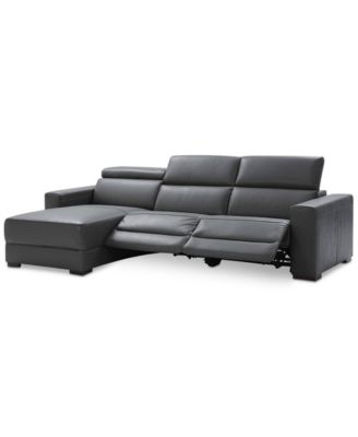 Furniture Nevio 3-pc Leather Sectional Sofa with Chaise, 2 Power