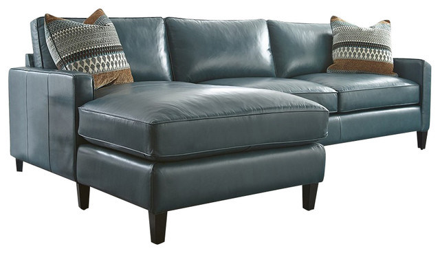 Turquoise Leather Sectional With Chaise Lounge - Transitional
