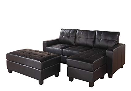 Amazon.com: ACME Lyssa Black Bonded Leather Sectional Sofa with