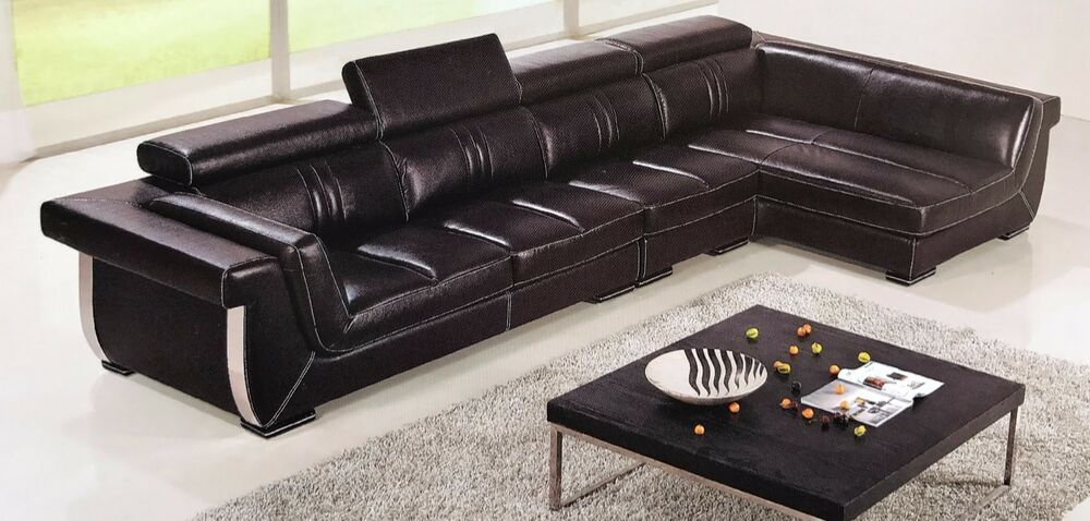 3 PC Italian Top Grain Dark Brown Leather Sectional Sofa Chaise