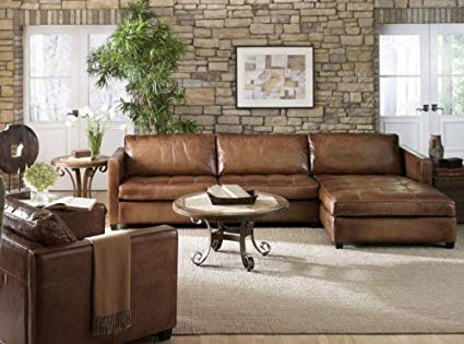 Alluring leather sectional   sofa with chaise
